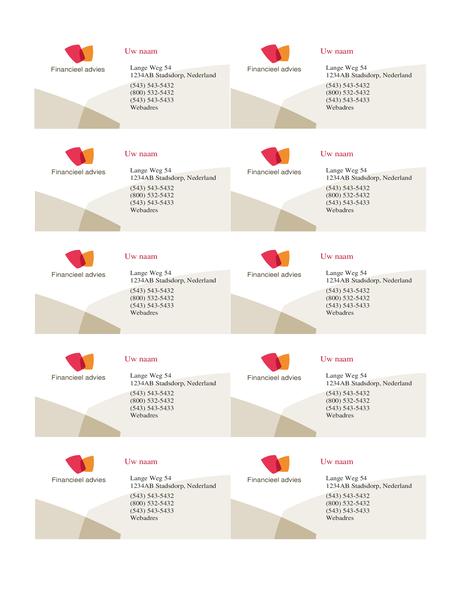Visitekaartje voor financieel bedrijf (10 per pagina)