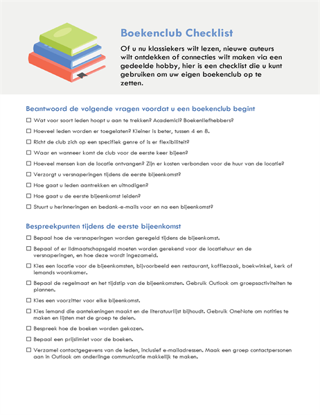 Checklist voor boekenclub