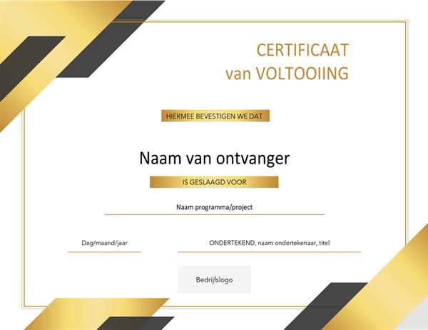 Formeel certificaat van uitgereikte prijs