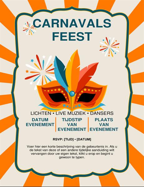 Folder met carnavalsmasker