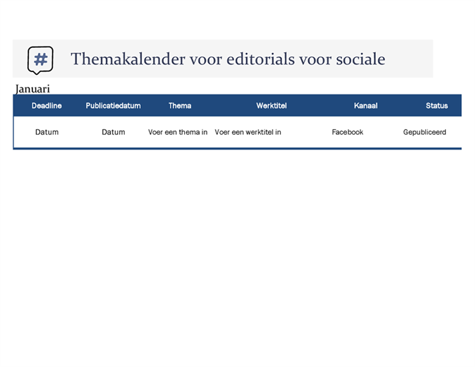 Themakalender voor editorials voor sociale media