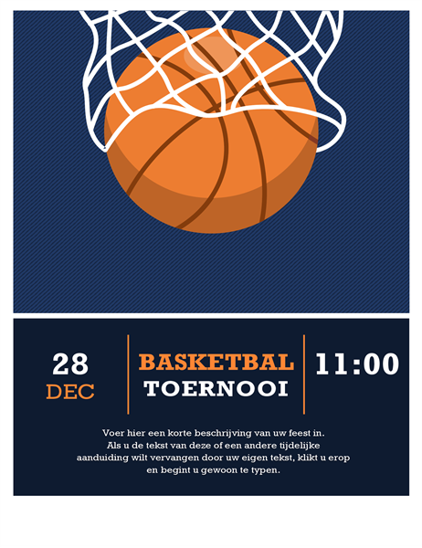 Flyer voor basketbaltoernooi
