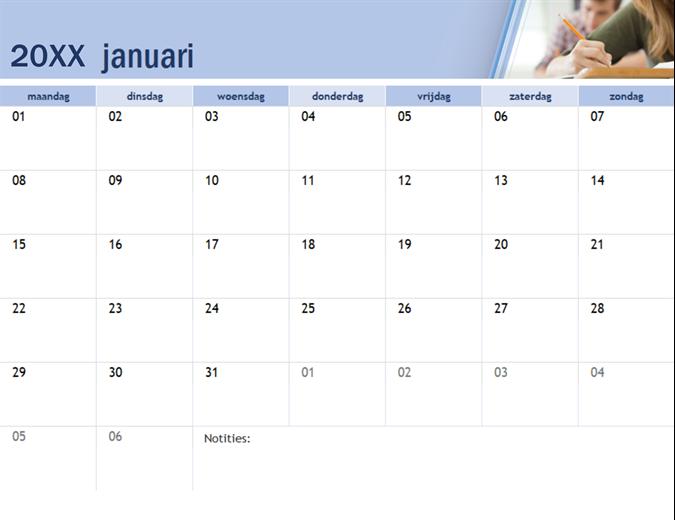 Onderwijskalender met foto 's