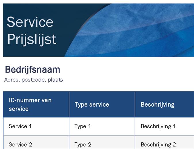 Serviceprijslijst