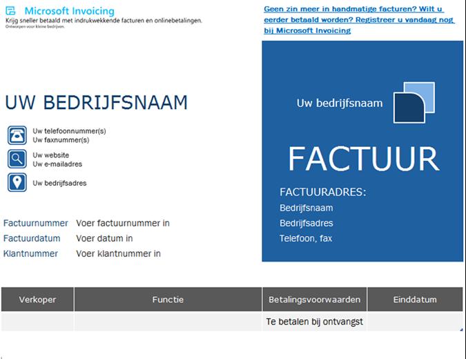Orderfactuur met Microsoft Invoicing