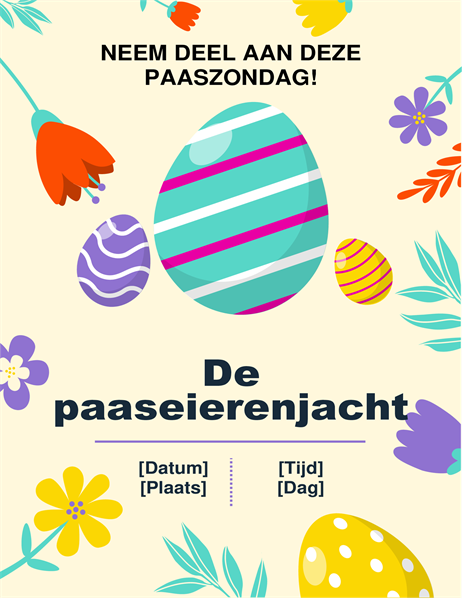 Folder in lentekleuren voor de paaseierenjacht