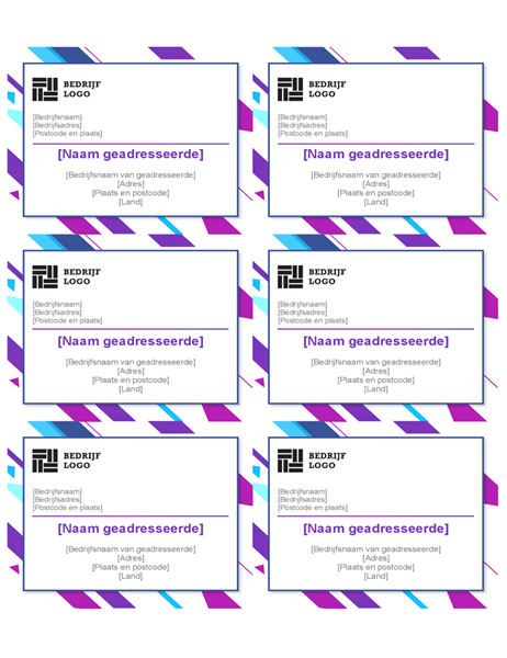 Etiketten met paarse afbeelding (6 per pagina)
