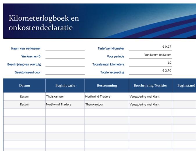 Blauwe reiskosten- en onkostendeclaratie