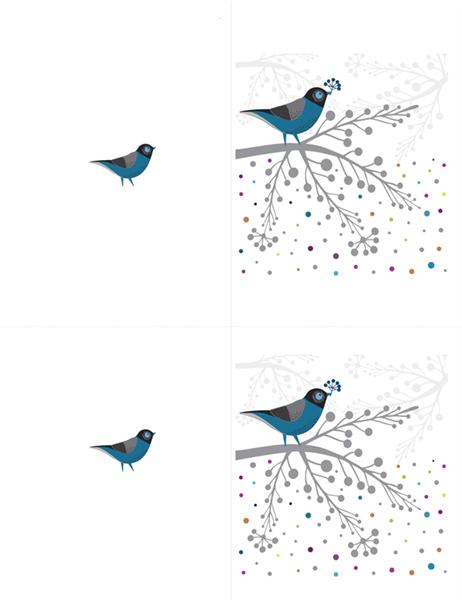 Notitiekaart met vogels en bessen