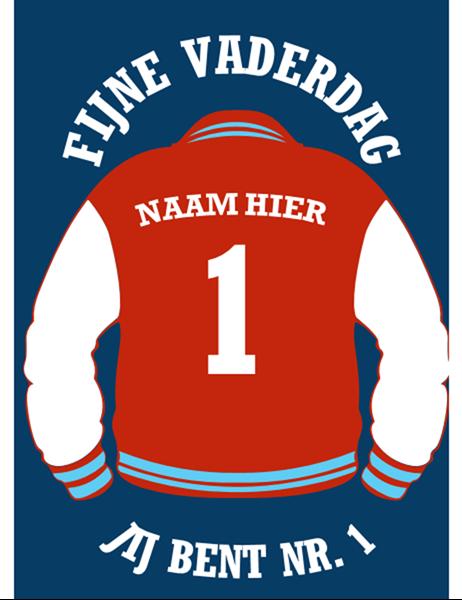 Kaart van een letter jacket voor Vaderdag
