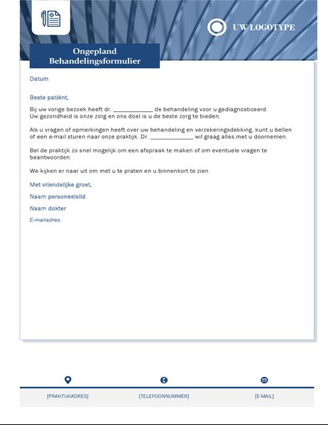 Brief over niet-ingeplande behandeling voor de gezondheidszorg