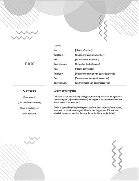 Jaren `80 faxvoorblad zwart-wit