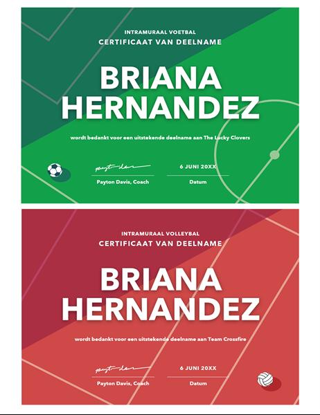 Vier certificaten voor sportprijzen
