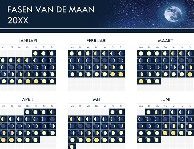Fasen van de maankalender