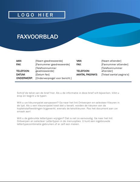 Faxvoorblad met blauwe curve