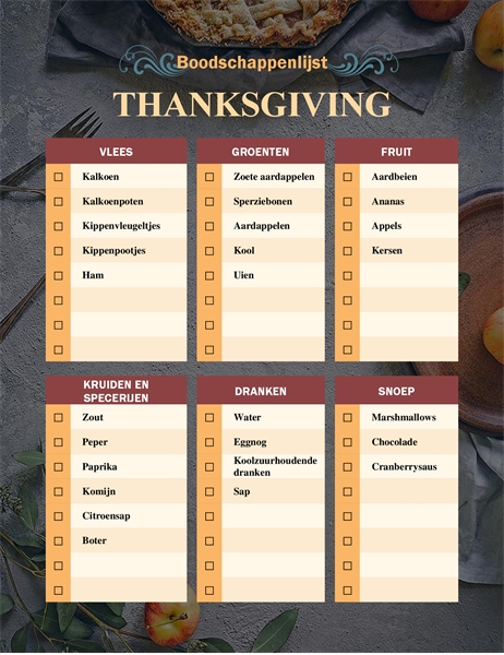 Boodschappenlijst Thanksgiving