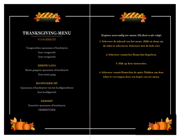 Traditioneel Thanksgiving-menu
