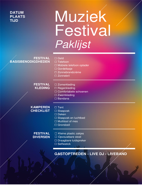 Paklijst voor muziekfestival