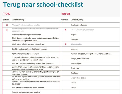 Terug naar school-checklist
