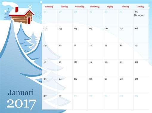 Geïllustreerde seizoenskalender voor 2017 (ma-zo)