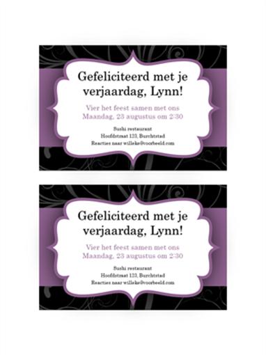 Uitnodiging voor een feest (ontwerp met paars lint)