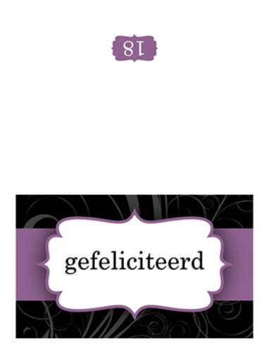 Verjaardagskaart (ontwerp met paars lint, dubbel gevouwen)