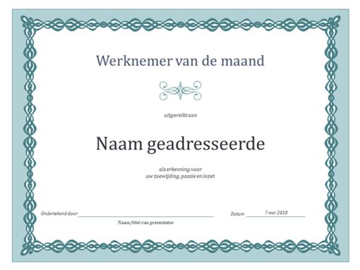 Certificaat voor werknemer van de maand (ontwerp met blauwe ketting)