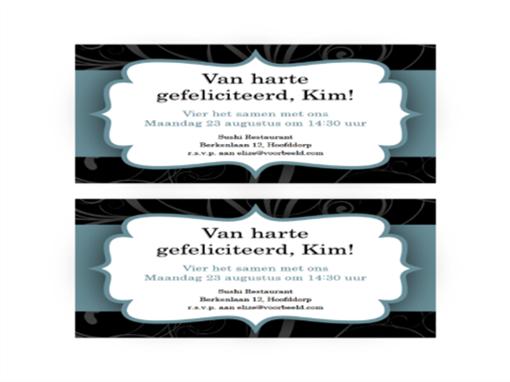 Uitnodiging voor een feest (ontwerp met blauw lint, 2 per pagina)