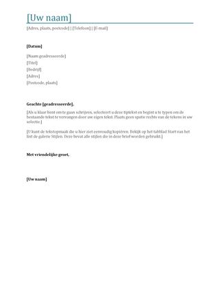 Begeleidende brief voor cv
