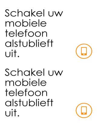 Waarschuwing om mobiele telefoon uit te zetten