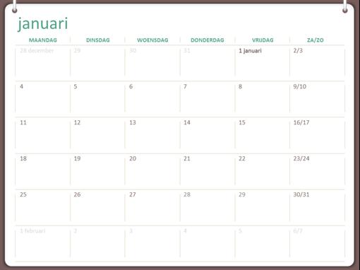 Kalender 2018 (ma-zo, twee ringen)