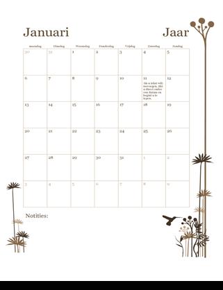 Kalender met 12 maanden (ma-zo)
