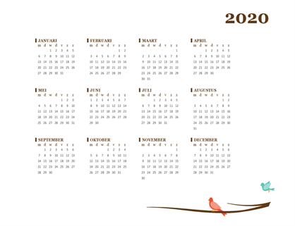 Jaarkalender 2018 (ma-zo)