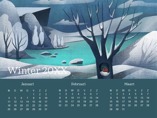 Driemaandelijkse kalender met lieveheersbeestje