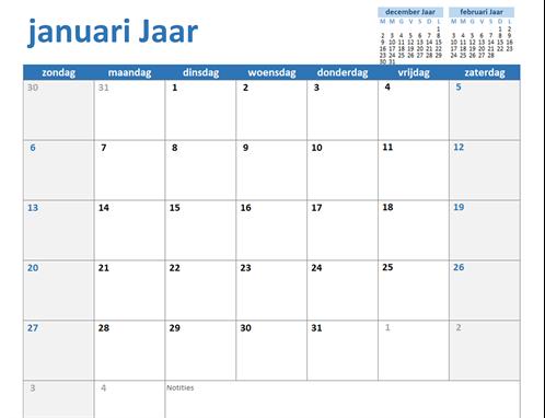 Aangepaste jaarkalender