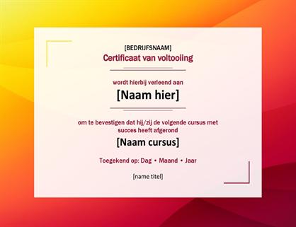 Opvallend certificaat van afronding