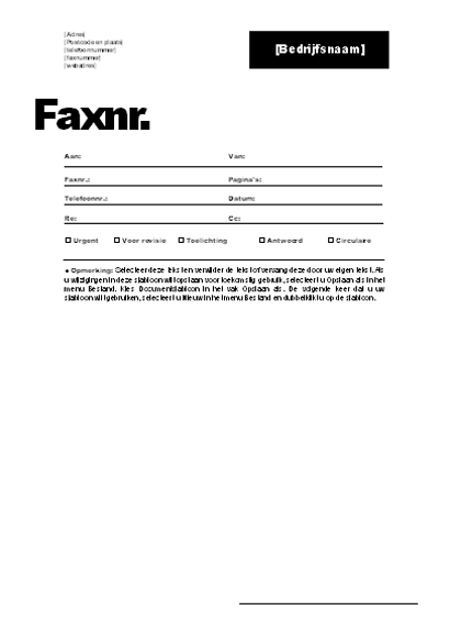 Faxvoorblad (professioneel thema)