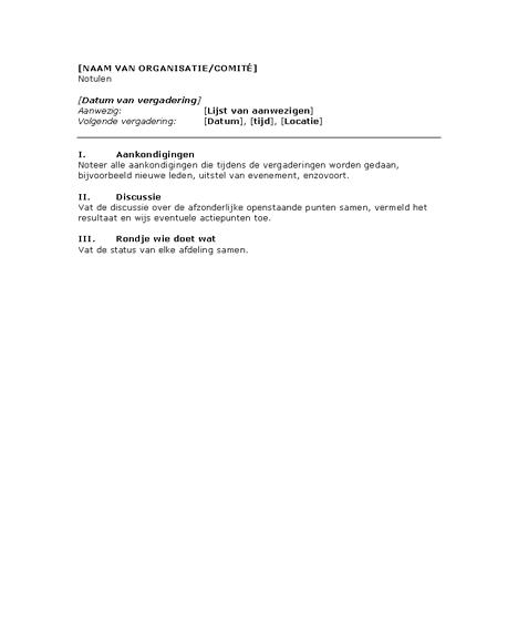 Notulen voor vergadering van organisatie (kort)