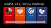 Dia met SmartArt - lijst met continue afbeeldingen (multicolor op zwart), breedbeeld