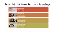 Dia met SmartArt - verticale lijst met afbeeldingen (multicolor op wit), breedbeeld