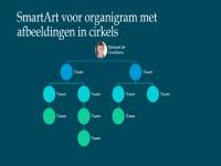 Dia met hiërarchisch organigram met afbeeldingen in cirkels (wit op blauw), breedbeeld
