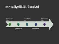 Eenvoudige tijdlijn SmartArt (wit op donkergrijs), breedbeeld