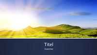 Presentatie met blauwe banden en foto van zonsopgang in de bergen (breedbeeld)