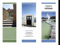 Driedubbelgevouwen reisbrochure (ontwerp met blauw en groen)