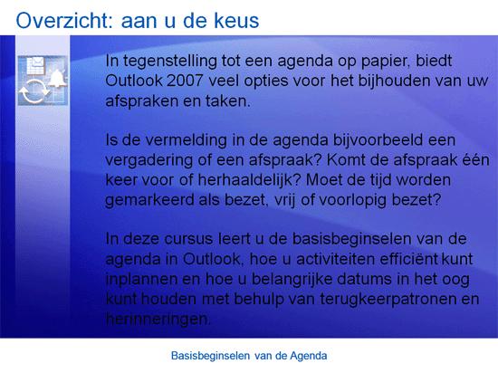 Trainingspresentatie: basisbeginselen van de agenda in Outlook 2007