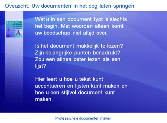 Trainingspresentatie: Word 2007—Professionele documenten maken