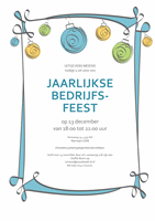 Uitnodiging voor feest met blauwe, groene en gele versieringen (informeel ontwerp)
