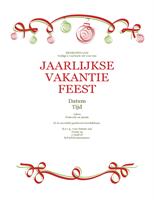 Uitnodiging voor feest met rode en groene versieringen (formeel ontwerp)