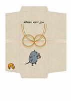 Envelop voor geld (ontwerp met muis en kaas)