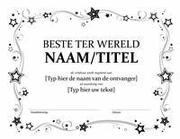 Certificaat voor de beste ter wereld (zwart-wit)